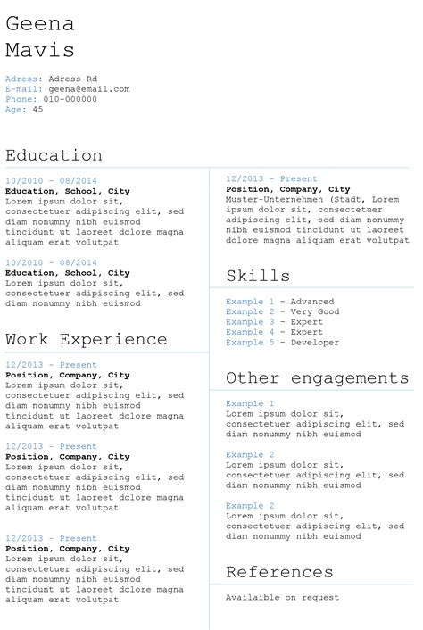 boxed skills resume template with a lovely design