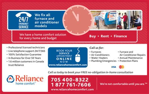 reliance comfort reliance home comfort canpages