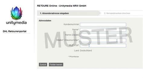 Paketschein Drucken Unfrei by Unitymedia Retourenschein Ausf 252 Llen Und Ausdrucken