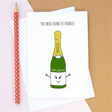 cards on the personalised prosecco birthday card by of life lemons