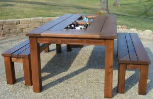 Patio Table Diy Remodelaholic Build A Patio Table With Built In Boxes