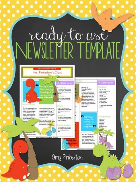 Editable School Class Newsletter Template Dinosaur Theme Show Templates For The Classroom
