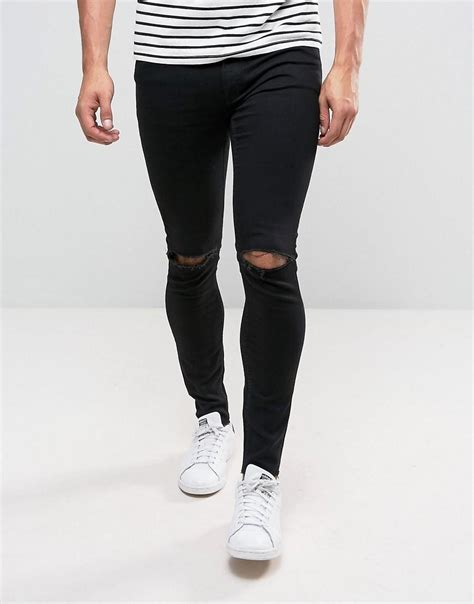 Cheap Monday Black Rips Knee Only cheap monday him spray cut black knee rip in black