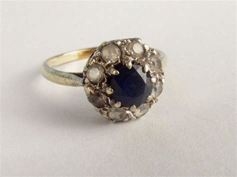 Blue Sapphire 6 9ct 9ct gold navy blue sapphire aquamarine flower ring size