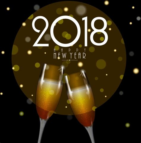 new year 2018 images with rose and wine decuration 2018 new year banner wineglass icons bokeh backdrop vector icon free vector free