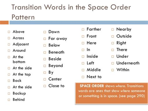 time order pattern of organization words patterns of organization time and space