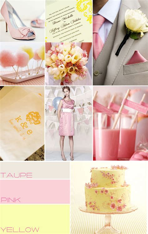pink yellow wedding colors palette pink taupe yellow wedding palette