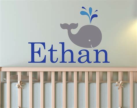 Whale Nursery Decor by Whale Nursery Decor Personalized Name Wall Decal