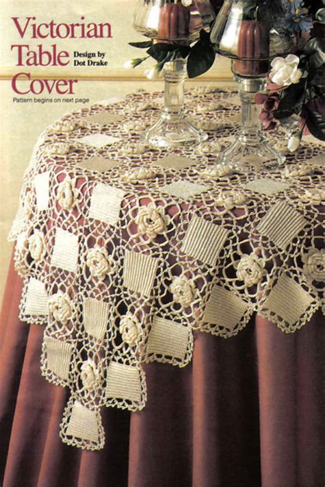 pretty victorian table cover doilycrochet pattern instructions  ebay