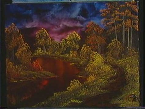 bob ross painting on black a pen by grovejay