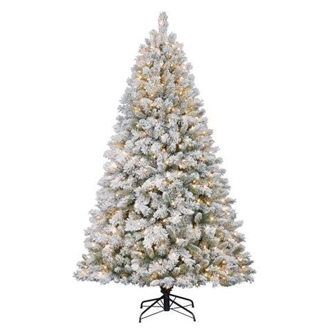 flocked pre lit christmas trees