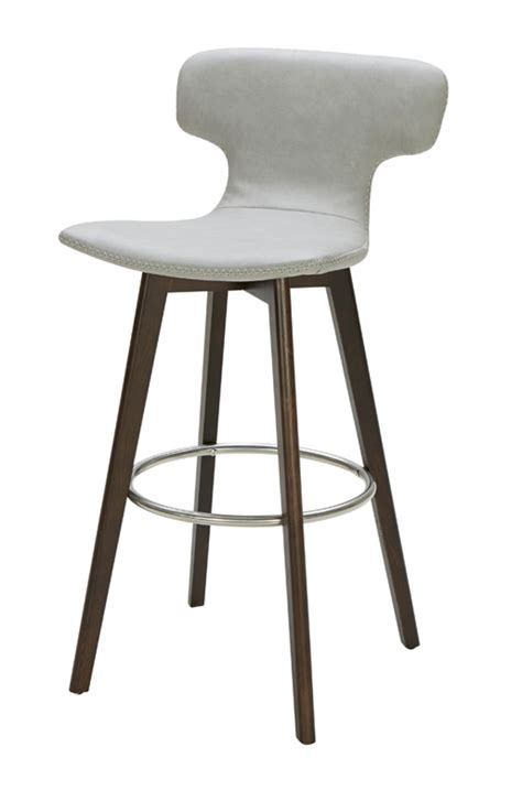 modern leather bar stools modrest zach modern grey eco leather bar stool