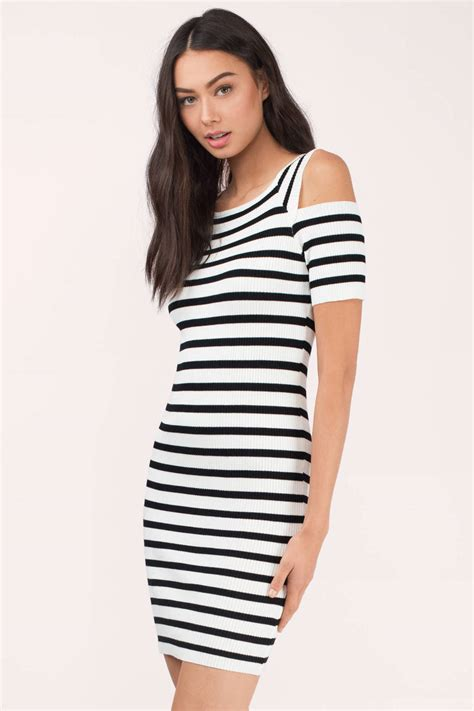 Dress Stripe white black bodycon dress cold shoulder dress