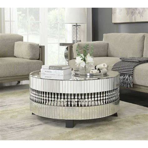 glass table black legs modern mirrored glass circular coffee table with