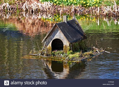 Old Duck House Made Of Wood On A Raft On A Pond Stock