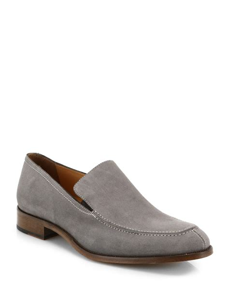 grey loafers for saks fifth avenue suede loafers in gray for grey lyst