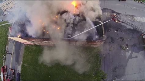 fire fighting drone detroit building fire at east ferry avenue and chene