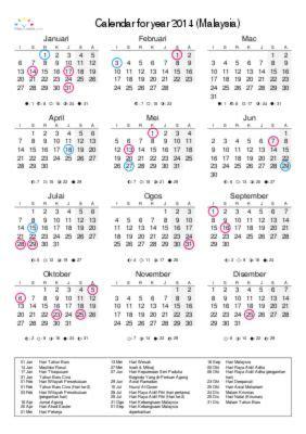 printable calendar 2014 malaysia printable calendar 2014 for malaysia pdf freebie