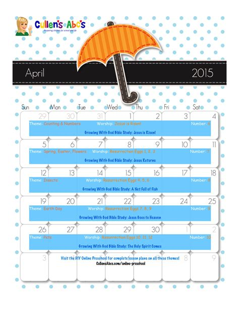 kindergarten themes april preschool calendars online preschool and children s