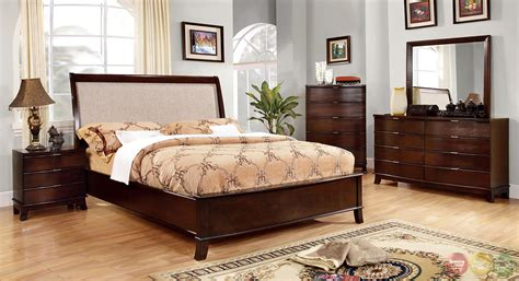 fabric headboard bedroom sets mercer contemporary brown cherry bedroom set with beige