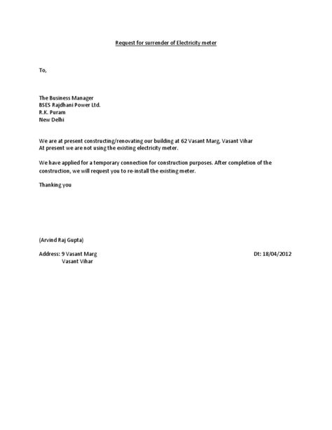 Cancellation Electricity Letter Request For Of Electricity Meter