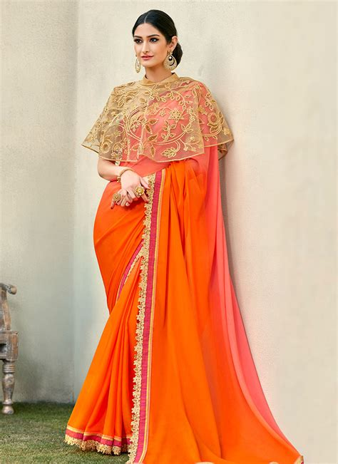 buy peach  orange georgette border saree stones