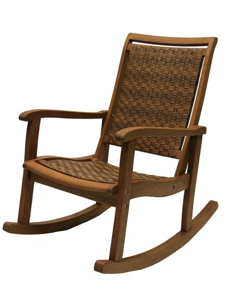 Resin Rocking Chair by Outdoor Interiors Resin Wicker And Eucalyptus Rocker Chair