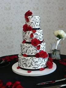 elegant red black and white wedding cake event and photo by www annachristineevents com cake