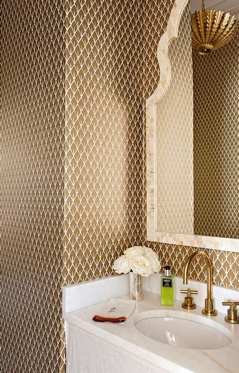 brown  gold powder room  mughal leaf wallpaper