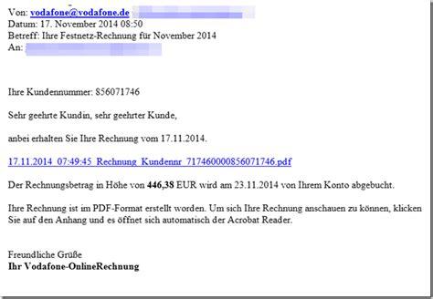 Rechnung Englisch Bitte überweisen Sie Trojaner Warnung Anbei Erhalten Sie Ihre Rechnung Vom 17 11 2014 Vodafone 1 1 Telekom