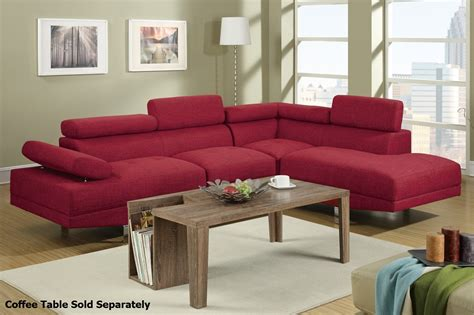 red fabric sectional poundex jezebel f7550 red fabric sectional sofa steal a