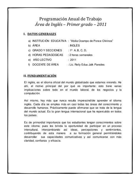 programacion curricular anual 2015 area de comunicacion primer ao programaci 243 n anual de trabajo 225 rea de ingl 233 s primer
