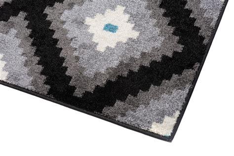 teppich geometrisch designer teppich wohnzimmer teppich kurzflor schwarz grau