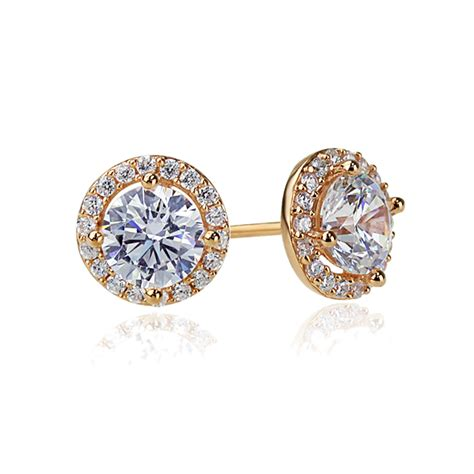 14k Gold Cz Trumpet Stud Earrings sterling silver 14k gold plated cz halo stud