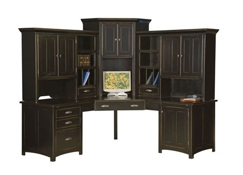 Black Corner Computer Desk With Hutch Large Amish Corner Computer Center Desk Hutch Home Office Wood Furniture Black Ebay