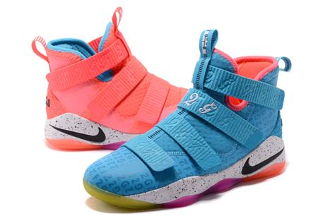 pink and blue basketball shoes comfortable nike lebron zoom soldier 11 blue pink