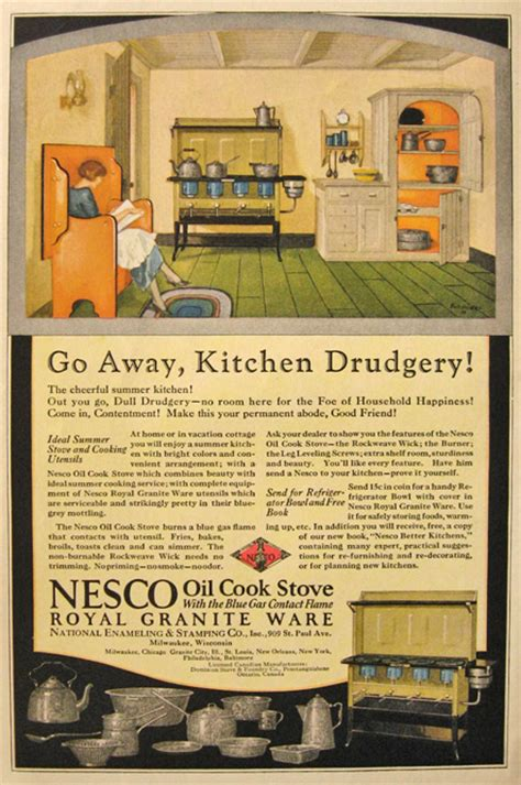 kitchen ads 1925 nesco oil cook stove ad kitchen drudgery vintage