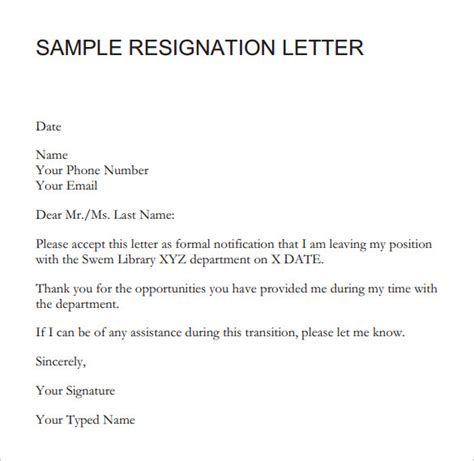 resignation letter formal resignation letter sle with notice period letter of resignation 2