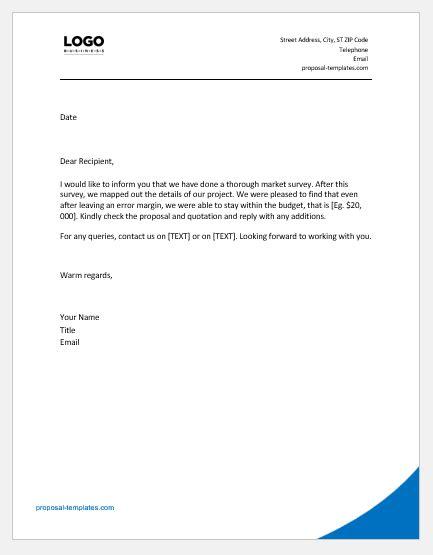 price proposal quotation letters ms word