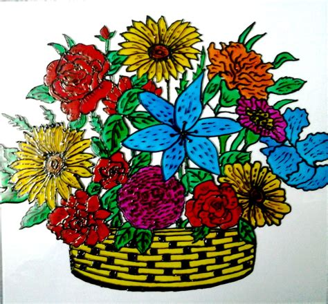 flower design for glass painting explore your talent glass painting bucket of flowers