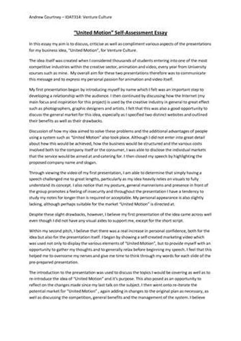 Self Writing Essay by Self Assessment Analysis Essay Exle Sle Free Essays