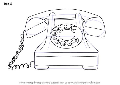 vintage line art tutorial learn how to draw a vintage phone vintage items step by