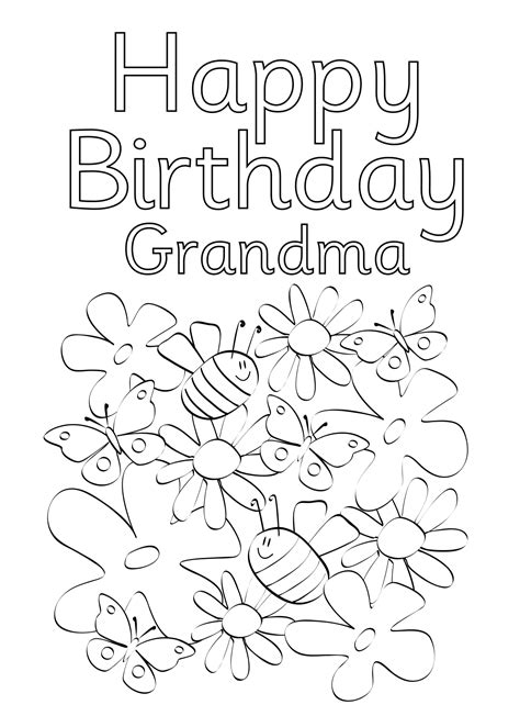 printable birthday cards grandma printable coloring birthday cards for grandma printable