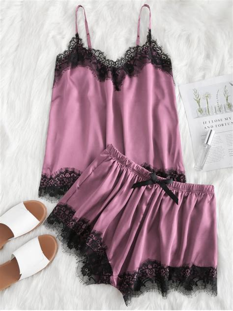 Pajama Set Lace Top Shorts 30 2019 contrast lace cami satin top and shorts
