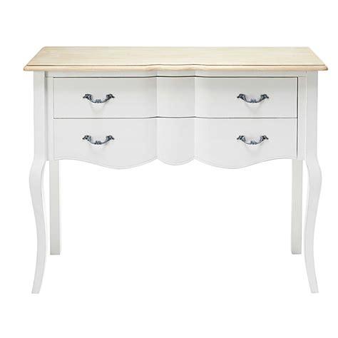 console en pin console 2 tiroirs en pin blanc et paulownia emilie