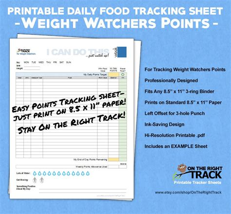 weight watchers weekly points tracker free printable free