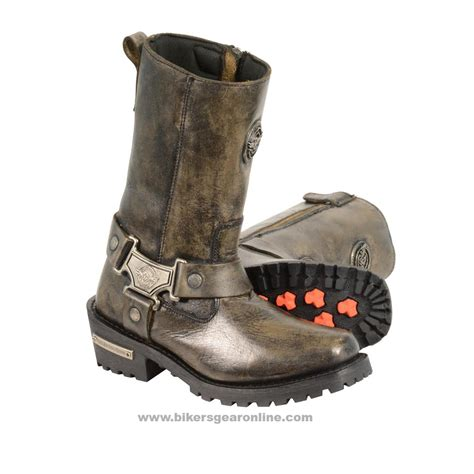 S Distressed Brown Motorcycle Boots Genuine Leather