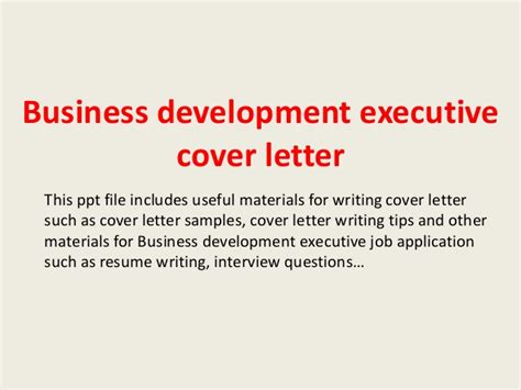Experience Letter For Business Development Executive Business Development Executive Cover Letter