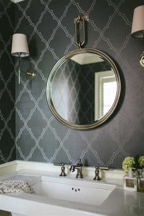 powder room  black moroccan wallpaper transitional