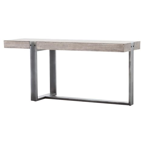 Concrete Console Table Frantz Industrial Asymmetrical Grey Metal Concrete Console Table Kathy Kuo Home